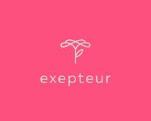 Linear Flower Logo Design. Elegant Leaf Stalk Premium Vector Logotype.
