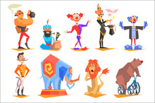 Set Of Funny Circus Characters...