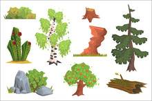 Flat Vector Set Of Nature Elem...