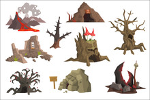 Flat Vector Set Of Landscape Elements. Volcano With Hot Lava, Ruins, Swamp, Old Trees, Cave, Scary Stump With Mushrooms. Graphic Design For Gaming Interface