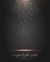 Falling Gold Particles. Golden Rain Background.