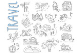 Doodle set of travel and camping icons. Signpost, air balloon, bike, forest, road, camera, car, map, baggage, camping, hills, tent, trolleybus, train. Vector design
