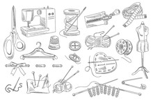Vector Set Of Hand Drawn Sewing And Knitting Icons. Mannequin, Buttons, Threads, Sewing Machine, Scissors, Pins, Ribbon, Pillow With Needles, Hanger, Bobbin, Centimeter, Zipper