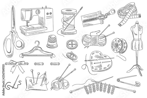 Obraz na plátne Vector set of hand drawn sewing and knitting icons