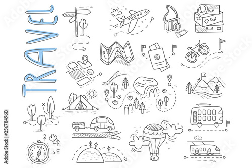 Fototapeta Doodle set of travel and camping icons