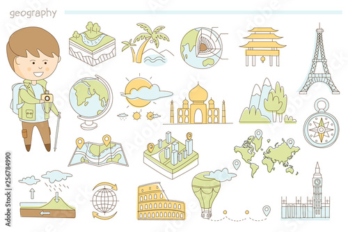 Fotografia  Hand drawn vector icons of landscape, maps and famous landmarks