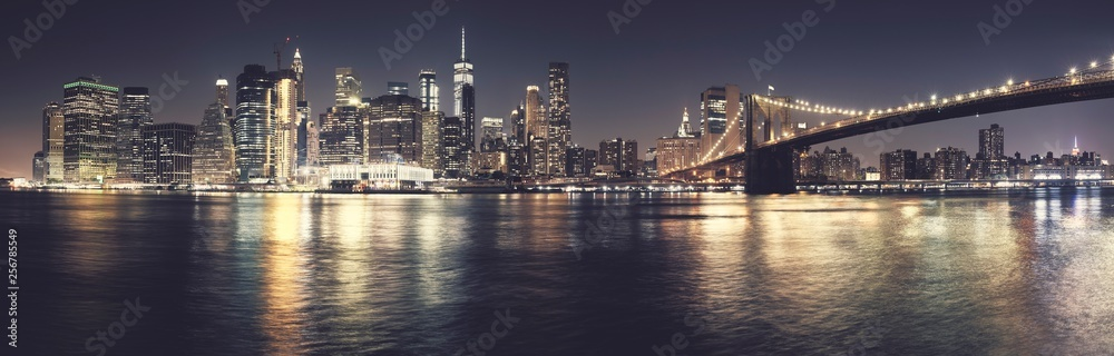 Fototapety, obrazy: New York City iconic skyline, color toned high quality panorama, USA.