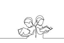 Children Read Book One Continuous Line Drawing Education Theme