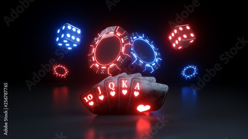 Foto  Casino Gambling Concept Royal Flush - 3D Illustration