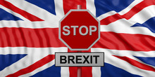 Red Stop Sign With Text STOP BREXIT Against United Kingdom Flag Background. 3d Illustration