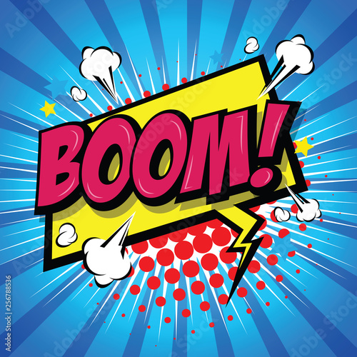 Boom! Comic Speech Bubble, Cartoon Fototapeta