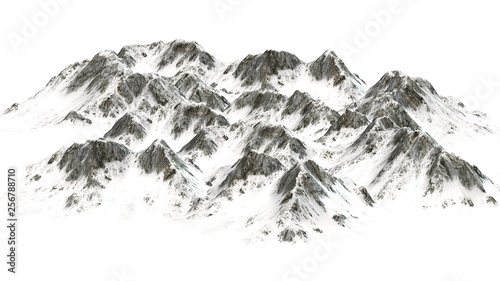 Snowy  Mountains panorama - separated on white background #256788710
