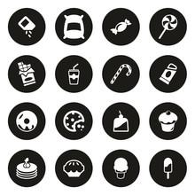Sugar Or Sugar Food Icons White On Black Circle