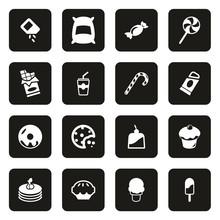 Sugar Or Sugar Food Icons White On Black