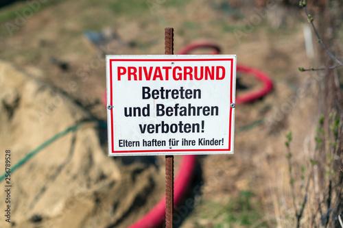 Betreten Verboten Schild an einer Baustelle Canvas Print