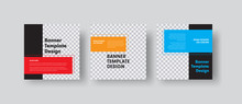 Design Of Square Vector Web Banners With Place For Photo And Color Rectangles For Text.