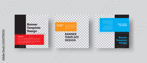 Fototapeta Design of square vector web banners with place for photo and color rectangles for text. obraz