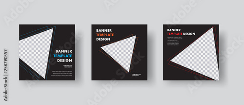 Obraz Template of black square vector web banners with triangles with stroke for photo. - fototapety do salonu