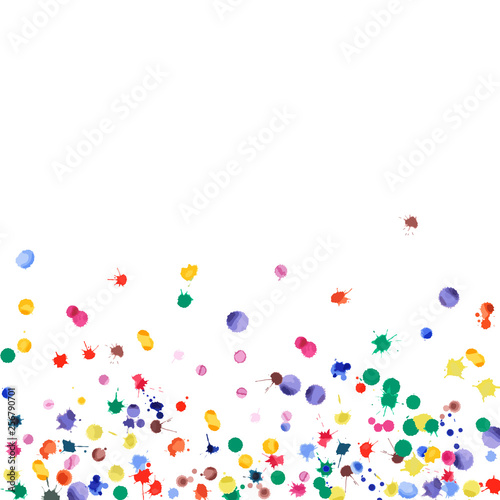 Fototapeta Watercolor confetti on white background. Rainbow colored blobs square gradient. Colorful bright hand painted illustration. Happy celebration party background. Worthy vector illustration. obraz na płótnie