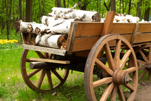Wood Logs On Cart At A Farm