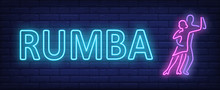 Rumba Neon Text With Two Dancers