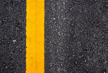 Asphalt Road Surface With Yell...