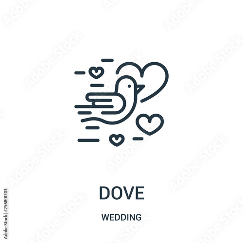 dove icon vector from wedding collection  Thin line dove