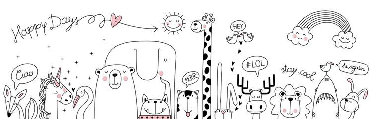 Panel Szklany Żyrafa cute cartoon sketch animals
