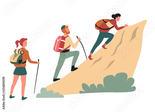 Canvas Print Hiking climbing cliff man and women hikers or backpackers