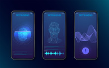 Biometric Fingerprint Scanners, Face Recognition And Voice Recognition For Authorization Verification With Futuristic Identification Interface. Technology Smart Phone Scanning.Set HUD Elements. Vector