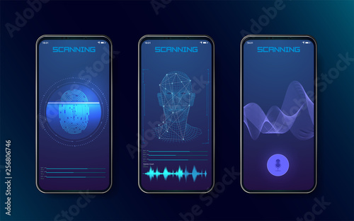 Biometric fingerprint scanners, face recognition and voice recognition for authorization verification with futuristic identification interface Wallpaper Mural