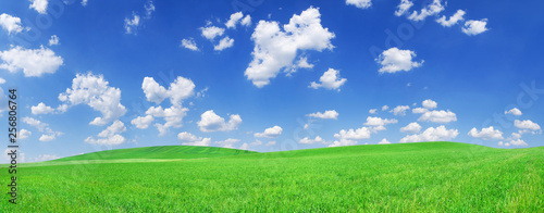 Foto op Plexiglas Weide, Moeras Idyllic view, green hills and blue sky with white clouds