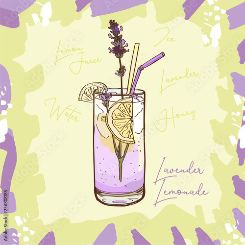 Photo  Lavender Lemonade homemade classic in glass cup with drinking straw and lemon wedge