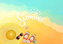 Accessories On Beach Background. Sunglasses, Flip-flops And Striped Hat. Summer Background Vector And Illustration.