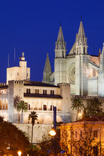 Night View Of The Cathedral Of Palma Mallorca And The Almudaina Palace