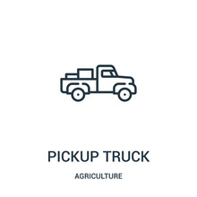 Pickup Truck Icon Vector From Agriculture Collection. Thin Line Pickup Truck Outline Icon Vector Illustration. Linear Symbol For Use On Web And Mobile Apps, Logo, Print Media.