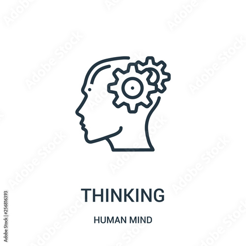 Obraz thinking icon vector from human mind collection. Thin line thinking outline icon vector illustration. Linear symbol for use on web and mobile apps, logo, print media. - fototapety do salonu