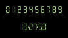 Digital Clock Number Set. Elec...