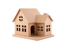Cardboard House Isolated On Wh...