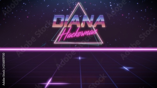 Fotografie, Obraz  first name Diana in synthwave style