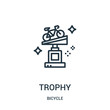 trophy icon vector from bicycle collection. Thin line trophy outline icon vector illustration. Linear symbol for use on web and mobile apps, logo, print media.