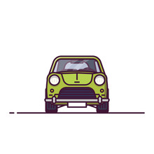 Front View Of Retro Car. Line Style Vector Illustration. Old Vehicle Banner. Classic Motor Car From Front View. Vintage Auto Pixel Perfect Banner.