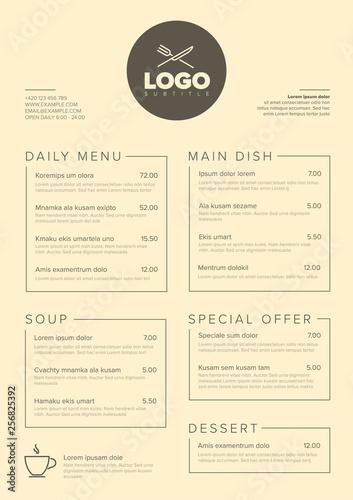 Fototapeta Modern minimalistic restaurant menu template obraz