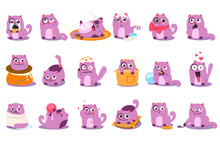 Flat Vector Set Of Cartoon Purple Kitten In Different Situations. Cartoon Character Of Funny Emotion Cat. Happy, Surprised, Sad, Sleeping, Crying, Playful, Angry, Enamored, Satisfied, Pensive. Flat