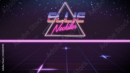 Photo first name Ellie in synthwave style