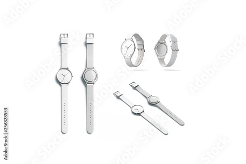 Valokuva Blank white watch wristlet mockup set, isolated, front and back, 3d rendering