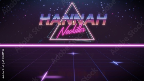 Photo  first name Hannah in synthwave style