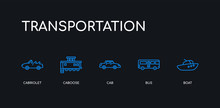 5 Outline Stroke Blue Boat, Bus, Cab, Caboose, Cabriolet Icons From Transportation Collection On Black Background. Line Editable Linear Thin Icons.