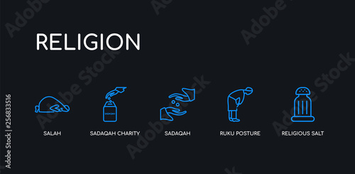 Photo  5 outline stroke blue religious salt, ruku posture, sadaqah, sadaqah charity, salah icons from religion collection on black background