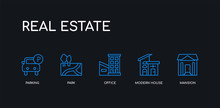 5 Outline Stroke Blue Mansion, Modern House, Office, Park, Parking Icons From Real Estate Collection On Black Background. Line Editable Linear Thin Icons.